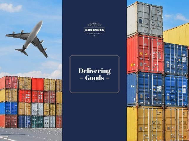 Delivery Service with Plane Flying over Warehouse Containers Presentation – шаблон для дизайна
