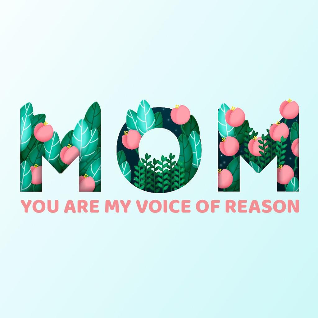 Word Mom with flowers — Crea un design