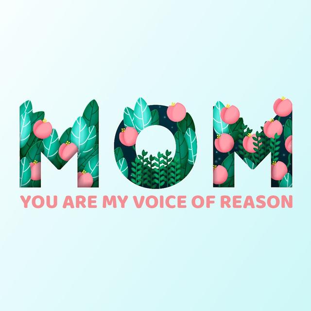 Word Mom with flowers Animated Post Tasarım Şablonu