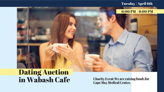 Ontwerpsjabloon van FB event cover van Dating Auction in Couple with coffee in Cafe