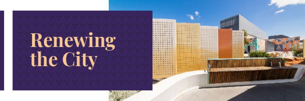 Modèle de visuel City Renovation with View of Modern Buildings - Email header