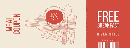 Meal Offer with Soup Illustration Coupon Modelo de Design