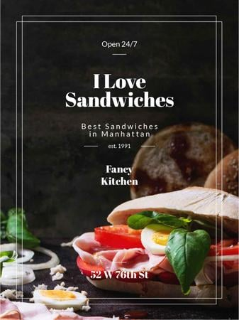 Restaurant Ad with Fresh Tasty Sandwiches Poster US Tasarım Şablonu