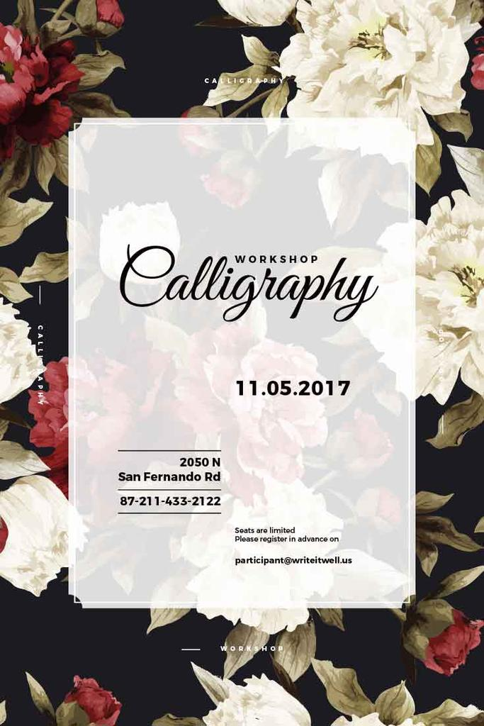 Сalligraphy workshop with flowers — Créer un visuel