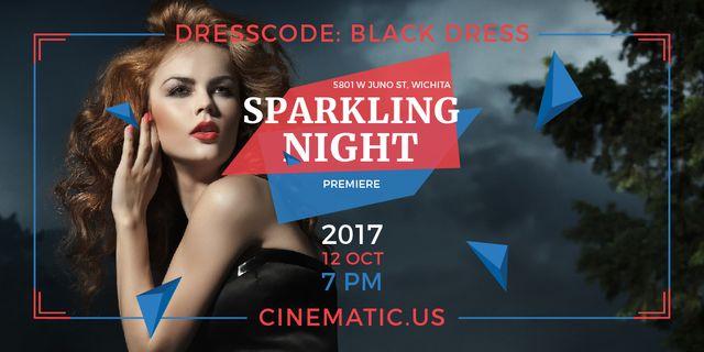 Night Party Invitation Woman in Black Dress Image – шаблон для дизайну