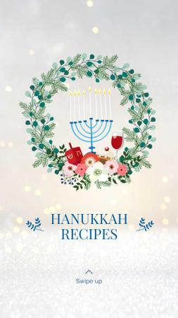 Happy Hanukkah greeting wreath Instagram Story Modelo de Design