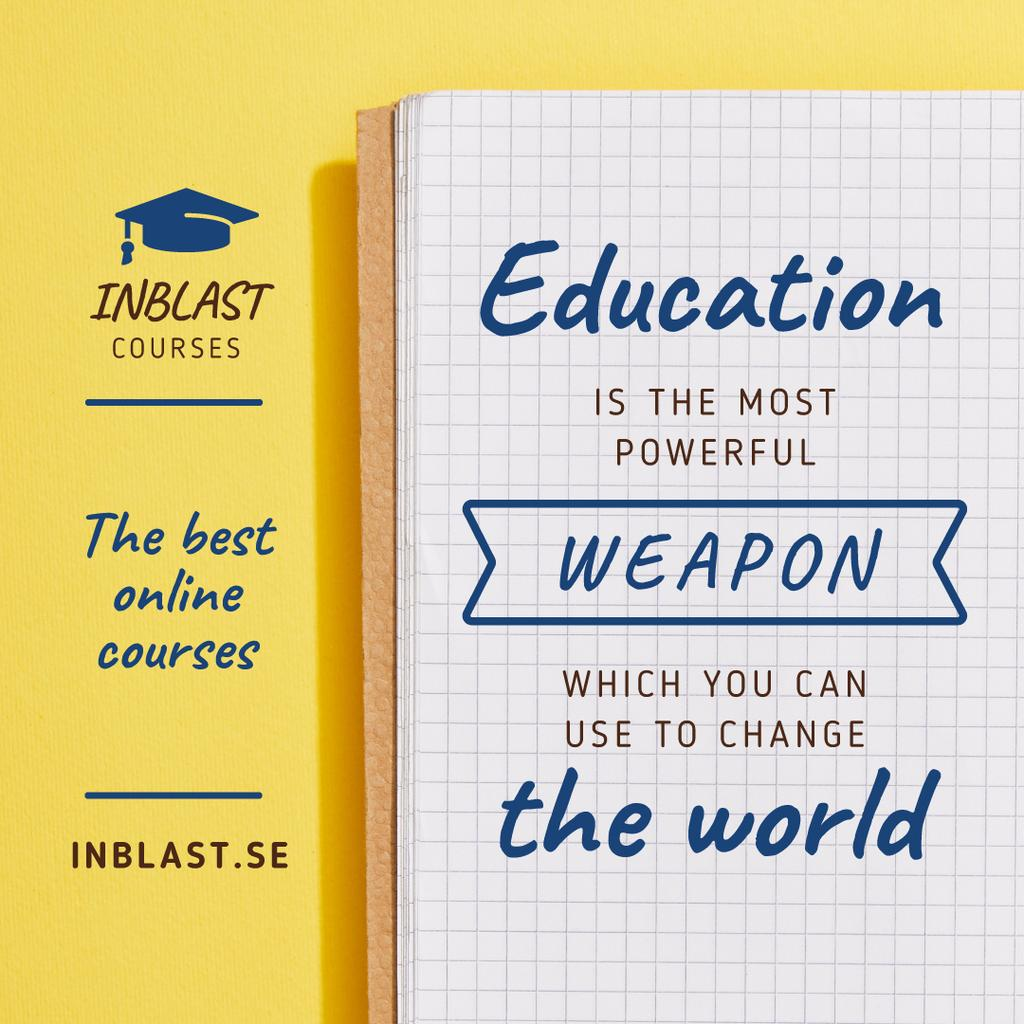 Education Online Courses Ad with Open Notebook — Create a Design