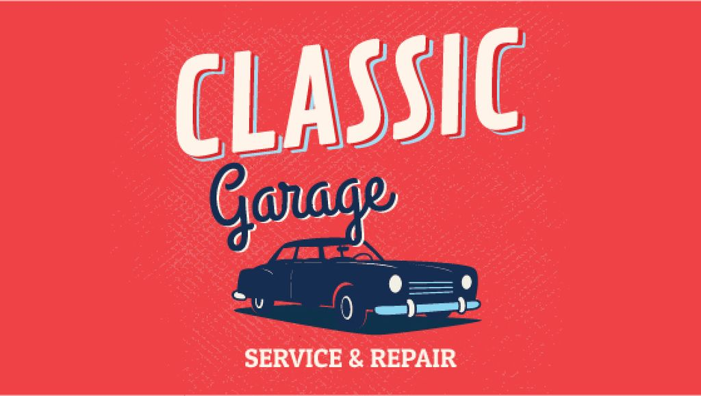 Garage Services Ad Vintage Car in Red — Modelo de projeto