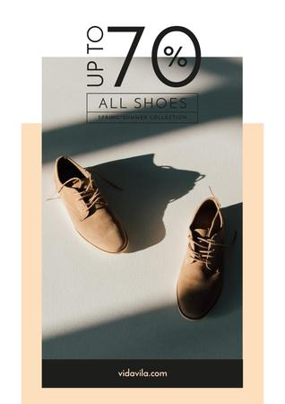 Plantilla de diseño de Fashion Sale with Stylish Male Shoes Poster