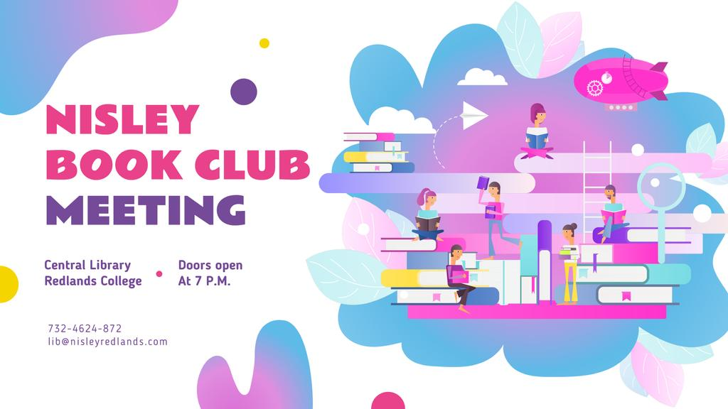Book Club Event People Reading Books FB event cover Design Template