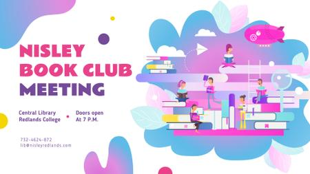 Modèle de visuel Book Club Event People Reading Books - FB event cover