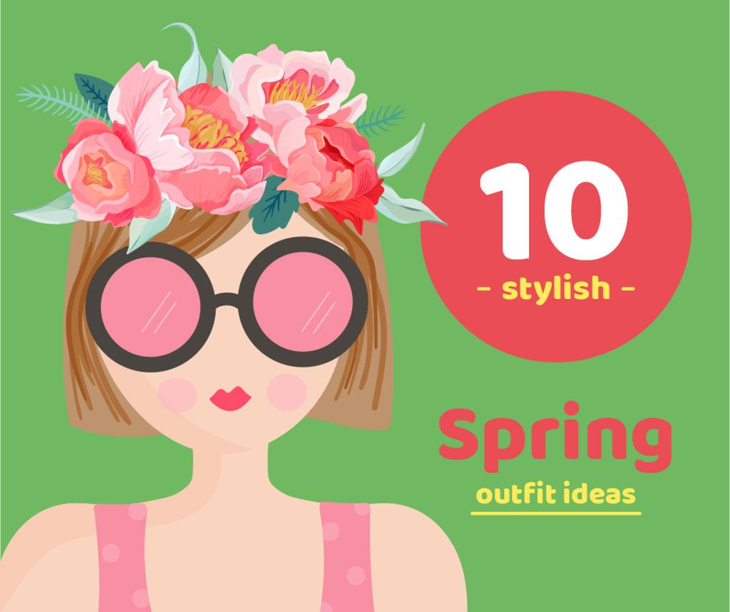 Dreamy girl with Spring flowers — Crear un diseño