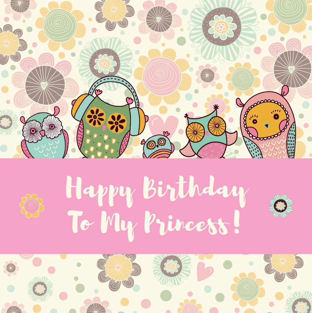 Birthday Invitation with Party Owls — Créer un visuel