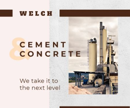 Concrete Production Industrial Plant with Chimneys Large Rectangle Modelo de Design