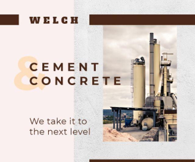 Concrete Production Industrial Plant with Chimneys Large Rectangle Tasarım Şablonu
