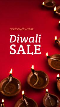 Happy Diwali Greeting Glowing Lamps