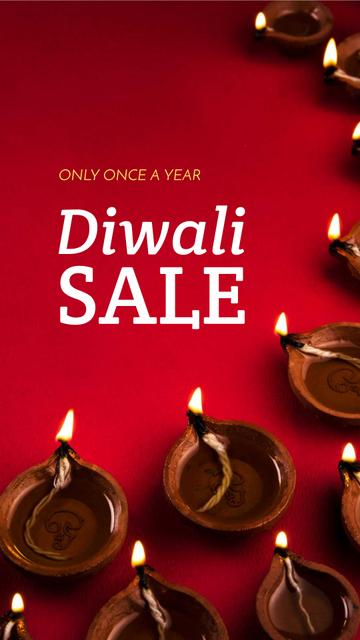 Happy Diwali Greeting Glowing Lamps Instagram Story – шаблон для дизайна