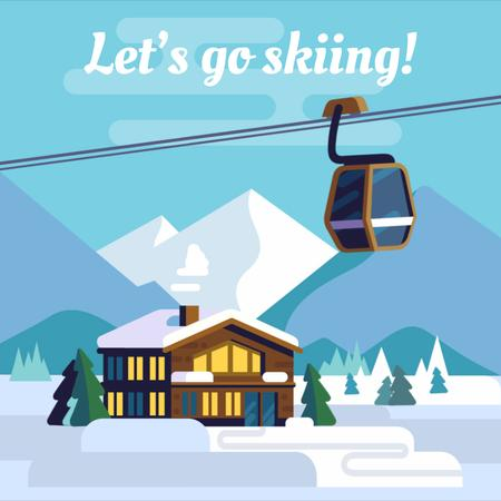 Snowy mountain resort Animated Post – шаблон для дизайну