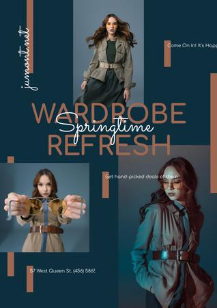 Woman in Stylish Outfit with accessories Poster Design Template