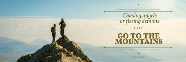 Hiking travel motivational poster Twitter Modelo de Design