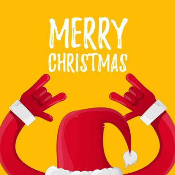 Santa showing rock sign on Christmas