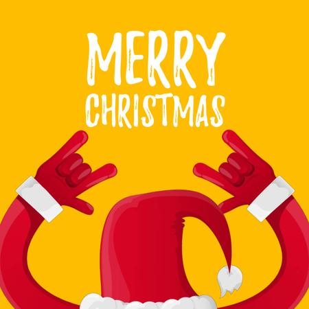 Plantilla de diseño de Santa showing rock sign on Christmas Animated Post