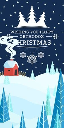 Plantilla de diseño de Christmas Greeting with Snowy House Graphic