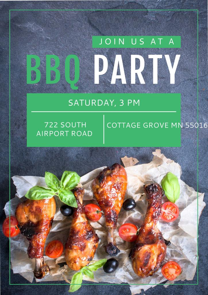BBQ party Announcement Poster Design Template