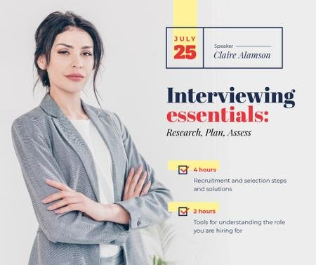 Plantilla de diseño de Job Offer confident Businesswoman at Interview  Facebook