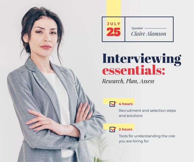 Job Offer confident Businesswoman at Interview  Facebook – шаблон для дизайна