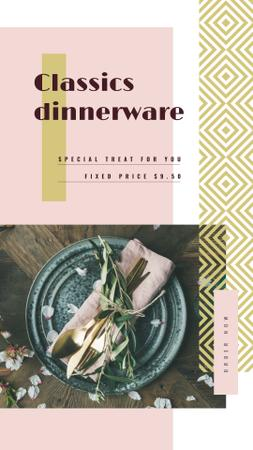 Festive formal dinner table setting Instagram Story Design Template