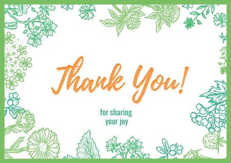 Szablon projektu Thank you card on Greens Frame Postcard