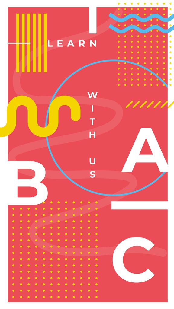 Plantilla de diseño de Education Courses Ad Lines and Circles Pattern in Red Instagram Story