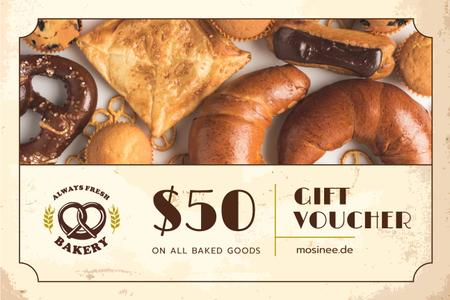 Modèle de visuel Bakery Offer with Freshly Baked Goods - Gift Certificate