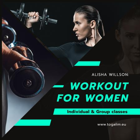 Modèle de visuel Coach Lessons Offer Woman Training with Dumbbells - Instagram AD