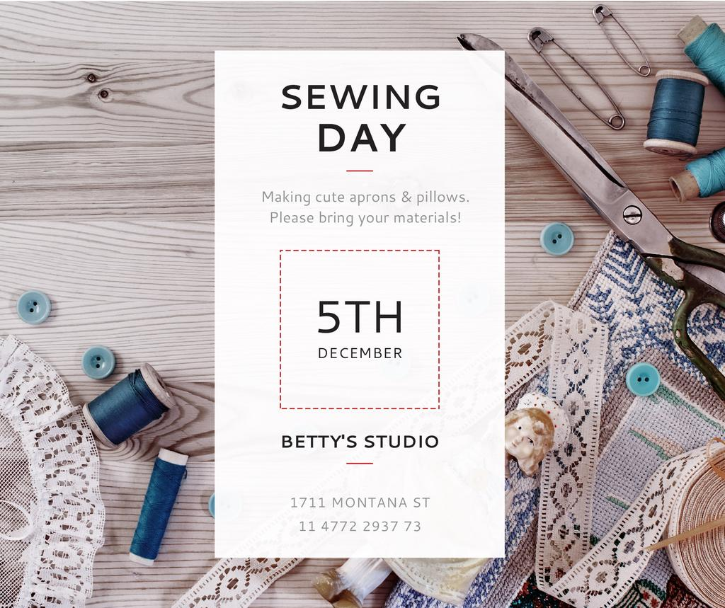 Ontwerpsjabloon van Facebook van Sewing day event with needlework tools