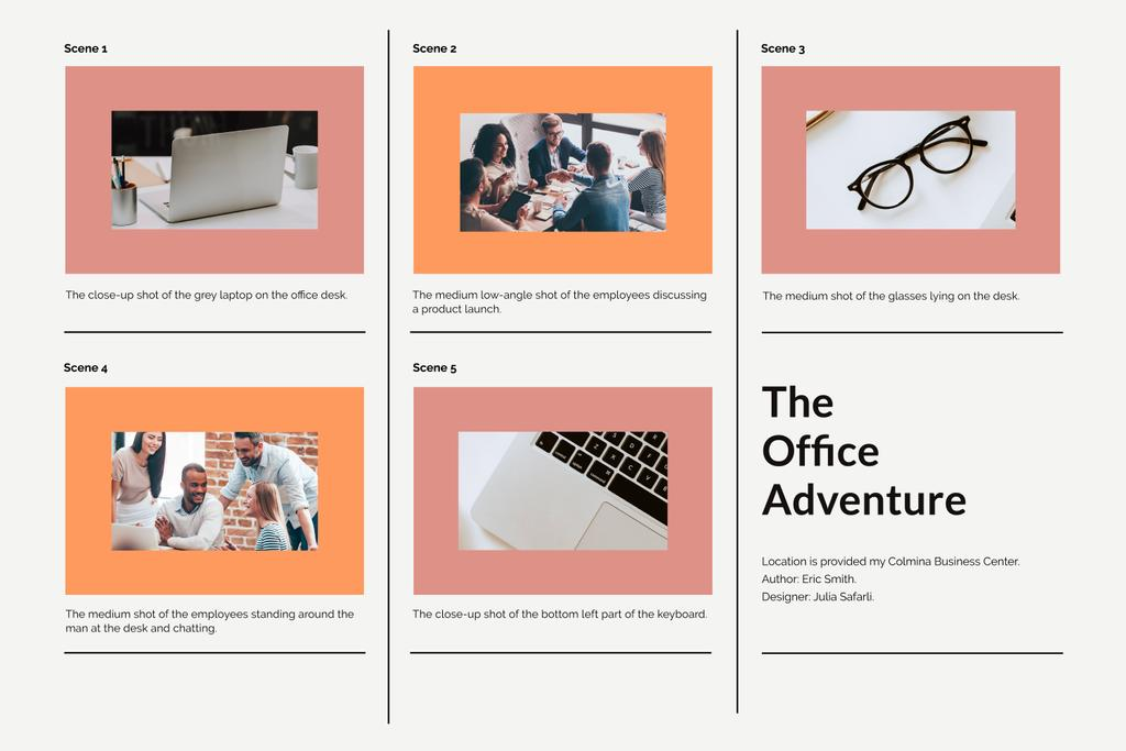 Business Team working in Office Storyboard Design Template