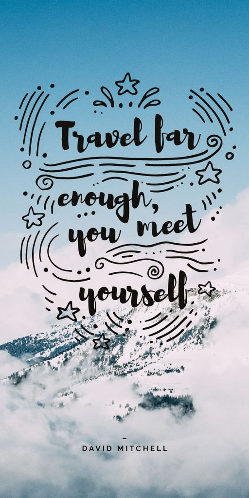 Travel Quote on Snowy Mountains View — Crea un design