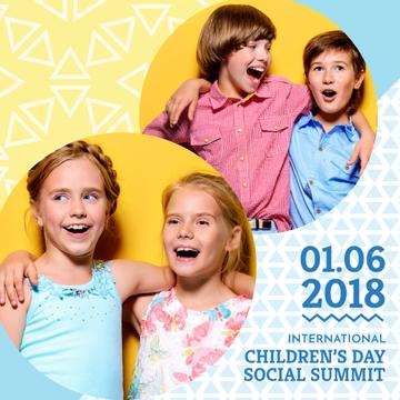 Children's Day social summit with happy kids