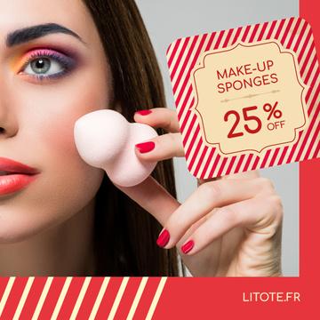 Beauty Supplies Sale Woman with Makeup Sponge