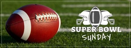 Plantilla de diseño de Super bowl Annoucement with rugby ball on field Facebook cover