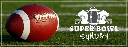 Super bowl Annoucement with rugby ball on field Facebook cover Design Template