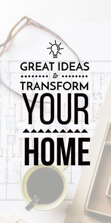 Interior design ideas ad with Blueprint Graphic – шаблон для дизайну