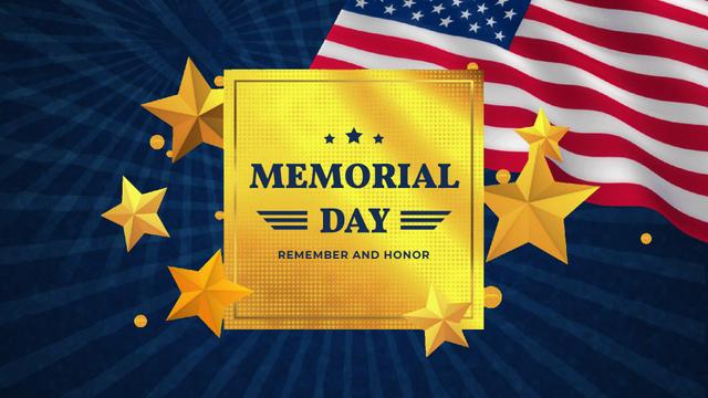Plantilla de diseño de USA Memorial Day waving Flag Full HD video
