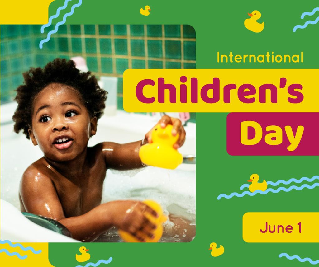 Kid in bath playing with ducks — ein Design erstellen