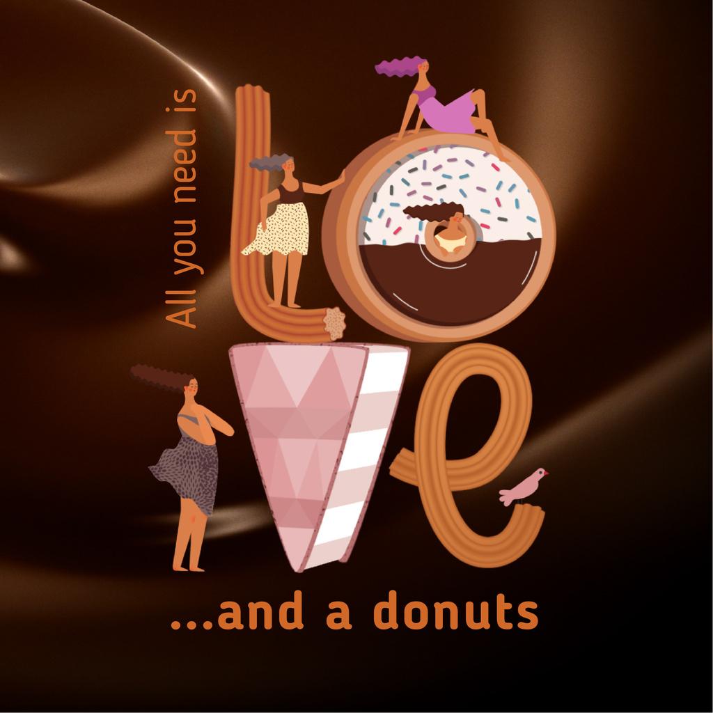 Girls loving doughnuts — Create a Design