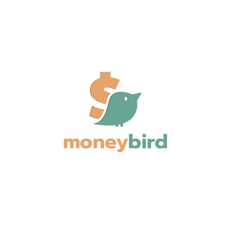 Banking Services Ad with Bird and Dollar Sign Logoデザインテンプレート