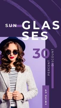 Glasses Offer Woman Wearing Sunglasses on Purple | Vertical Video Template