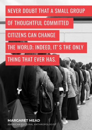Plantilla de diseño de Citation about committed Citizens who can change World Poster