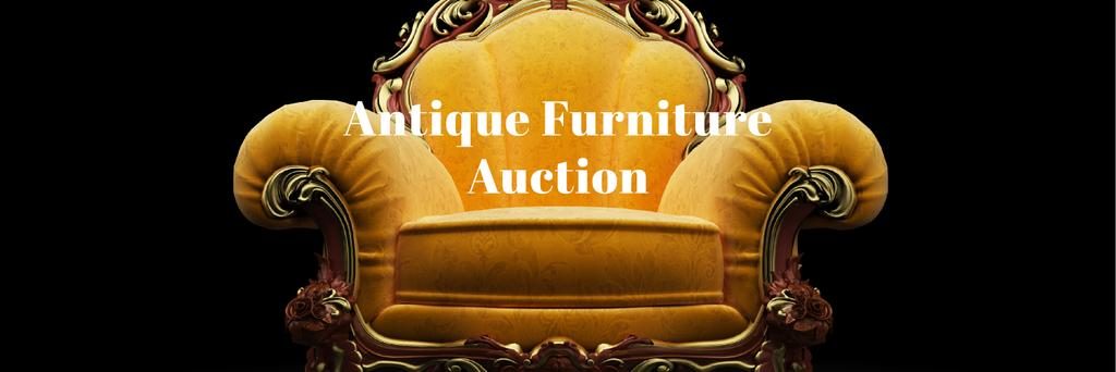 Antique Furniture Auction Luxury Yellow Armchair Twitterデザインテンプレート